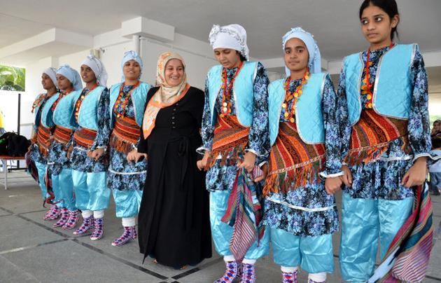Sevim (in the centre) joins a group of girls dancing to the tune of Turkish song 'Yeni bir dunya'. / Photo: Nagara Gopal / The Hindu