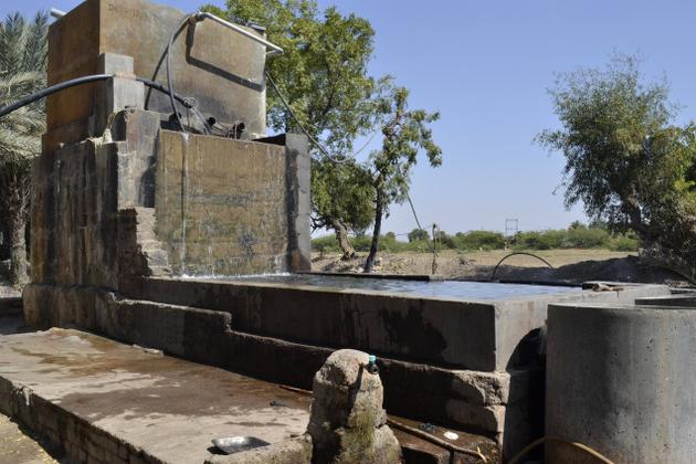 An indigenous water system used to wash fabrics at the ajrakh workshop of Jabbar Khatri