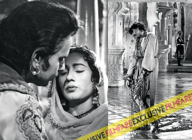 (L)Mughl-E-Azam was the epic film in Madhubala's career. Not only were audiences curious to see her and Dilip Kumar together in the same frame, they wanted to see why the magnum opus took so many years to complete. (R)It was during the shooting of Mughl-E-Azam that the first bulletins of her heart ailment became public. Director K Asif had reportedly got her shackled in real iron chains which hadn't helped the ailing actress.