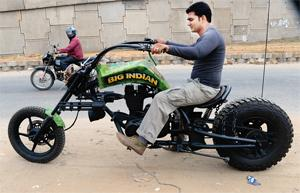 The bike sports a converted 500 cc Royal Enfield engine