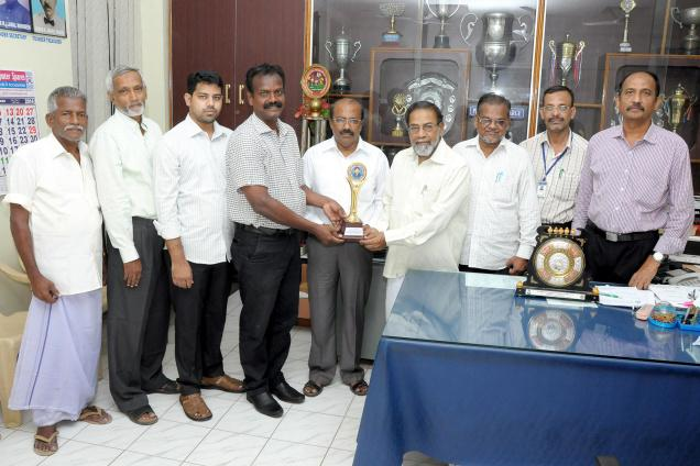 Jamal Mohamed College Students Cooperative Stores, Tiruchi, being awarded as the Best Student Cooperative Stores /.Photo: Special Arrngement / The Hindu