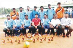 (standing from left) Nayaz, Madhu, Jassim, Shivraj, Supreeth, Purushotham, Pawan; (sitting from left) Hemanth (Captain), Harshith, B. Bharath, Vinay, Srinivas, Manjunath (Manager) and Sam Peter (Coach).