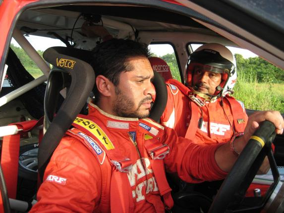 MRF rally driver Gaurav Gill (left) and his co-driver Musa Sherif Photo:Stan Rayan / The Hindu