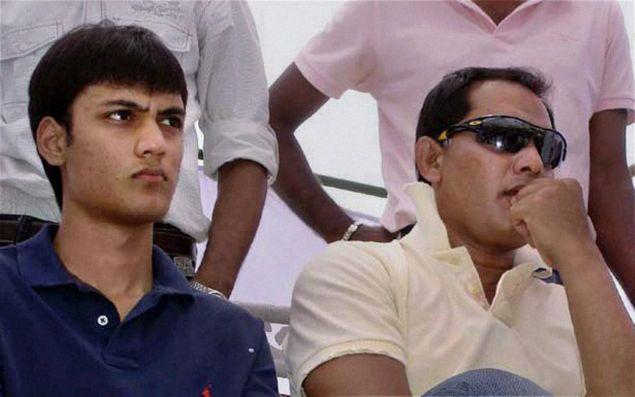 Ayazuddin (left) with his father Mohammed Azharuddin. File photo / PTI