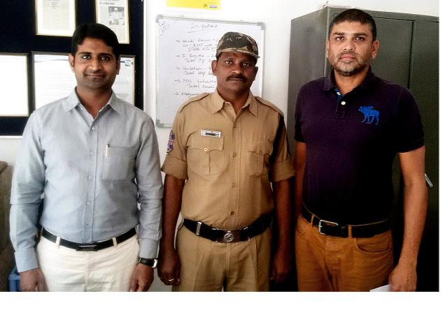 Mohammed Anwar, who is now a Home Guard with the Jeedimetla police, is flanked by Mujtaba Hasan Askari and Mohd. Imran of Helping Hand Foundation.– PHOTO: By Arrangement
