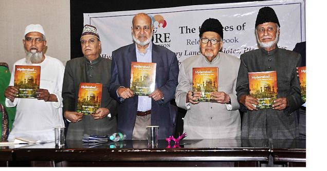 (From L to R) J.S. Ifthekhar, the translator of the book, Rafiuddin Qaudri, president of Dr. Zore Foundation, Mohd Ziauddin Ahmed Shakeb, noted scholar, M.M. Taqi Khan, professor of Chemistry, and Ghulam Yazdani, author of the book, Hyderabad ... down memory lane , at the function.- Photo: G. Ramakrishna