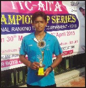 City's tennis player Sheikh Mohammad Iftikhar is seen with the U-16 boys singles winners trophy he won in the Championship Series National Tennis Tournament held at Trivandrum yesterday.