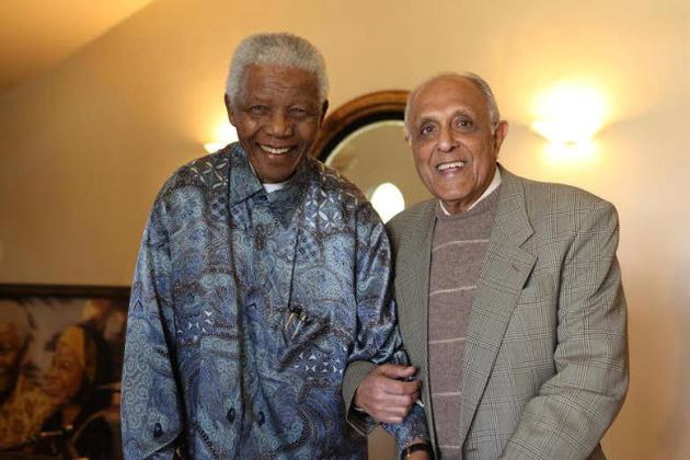 """Special Camaraderie: """"Throughout, Mandela retained hope, confident that sooner or later, the battle for equality would will be won."""" Picture shows Nelson Mandela and Ahmed Kathrada. / by Special Arrangement / The Hindu"""