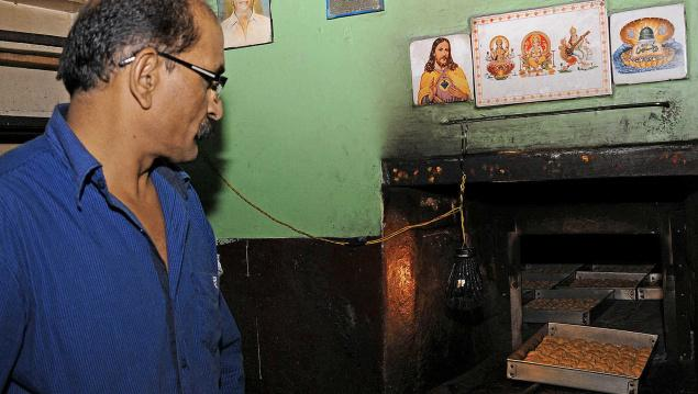 Wheat varkey being prepared in a bakery in Udhagamandalam.- Photo: M. Sathyamoorthy