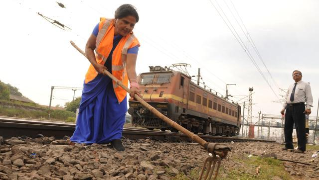 Trackwoman Feroza Bano says she has to ensure fitness and renewal of tracks in coordination with signals before movement of each train. (HTPhoto)