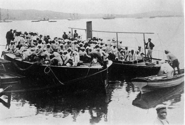 The arrival of Indians in South Africa by boat. / The Hindu Archives