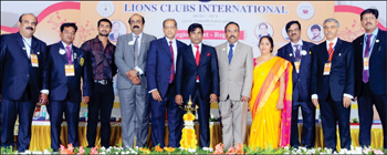 Dr. Bellipadi Shyam Prasad Shetty, who inaugurated the Regional Meet, is seen with (from left) Lion Mohammed Nasir, Lion Sayed Ismail, Cine Actor V. Chandan, District Governor Lion C. Hemanth Kumar, Nur Alam Choudhury, Region Chairman Lion R.Y. Arun, Lion Lady Hemalatha Arun, Lion V.S. Sheshadri, Lion Sriprakash and Lion N. Subramanya.