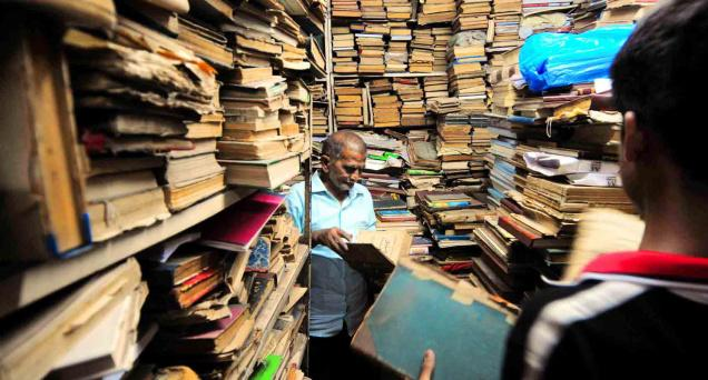 Haziq and Mohi Rare Book Suppliers at Mubarak Chowk near Charminar is all set for a massive overhaul.-Photo: Mohammed Yousuf