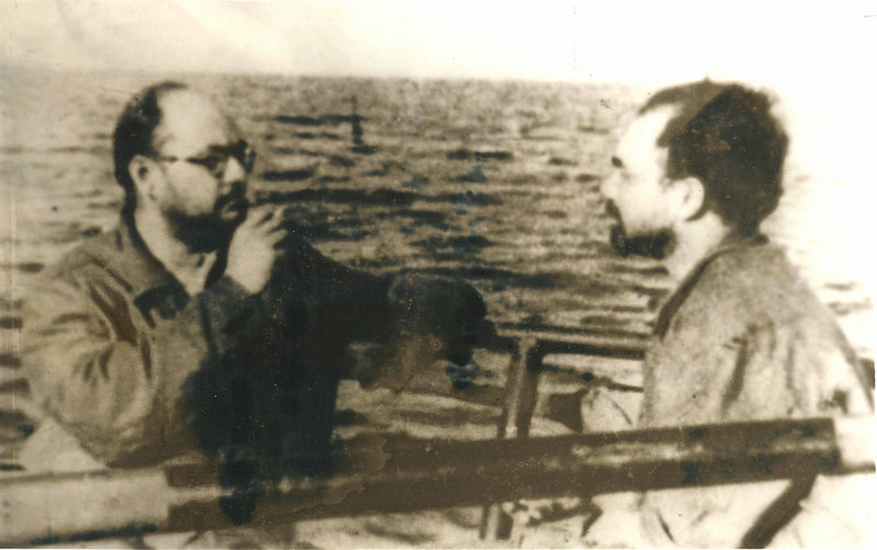 Netaji Subhas Chandra Bose with his aide Abid Husain on their famous voyage from Germany to Japan in 1943. Photo courtesy: Anvar Alikhan