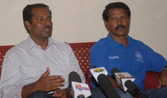National hockey coaches Md. Riaz (left) and C R. Kumar were felicitated by the Hockey Unit of Tamil Nadu in Chennai on Wednesday. / The Hindu