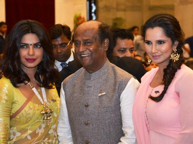Actor Rajinikanth flanked by Bollywood actor Priyanka Chopra and Tennis player Sania Mirza, who were the recipients of the Padma Vibhushan, Padma Shri and Padma Bhushan Awards respectively during the Civil Investiture Ceremony at the Rashtrapati Bhavan in New Delhi on April 12,2016. Photo : R. V. Moorthy