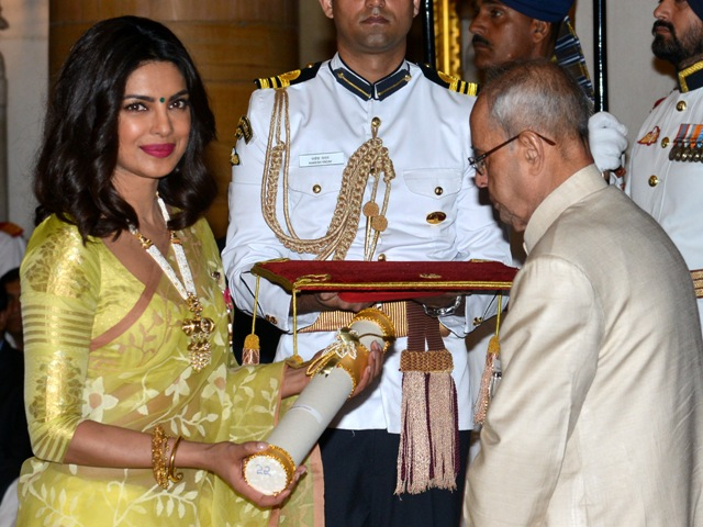 New Delhi, 12/04/2016: President Pranab Mukherjee presenting the Padma Shri Award to Film Actress Priyanka Chopra during the Civil Investiture Ceremony at the Rashtrapati Bhavan in New Delhi on April 12,2016. Photo : R. V. Moorth