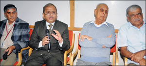 Dr. B.G. Sangameshwar, VC, JSS Science and Technology University, is seen addressing a press meet at SJCE this morning as Dr. K. Lokesh, Registrar, Prof. M.H. Dhananjaya, Director, Technical Education Division, JSS Mahavidyapeetha and Dr. Shakeeb-Ur-Rehman, Principal, SJCE, look on.