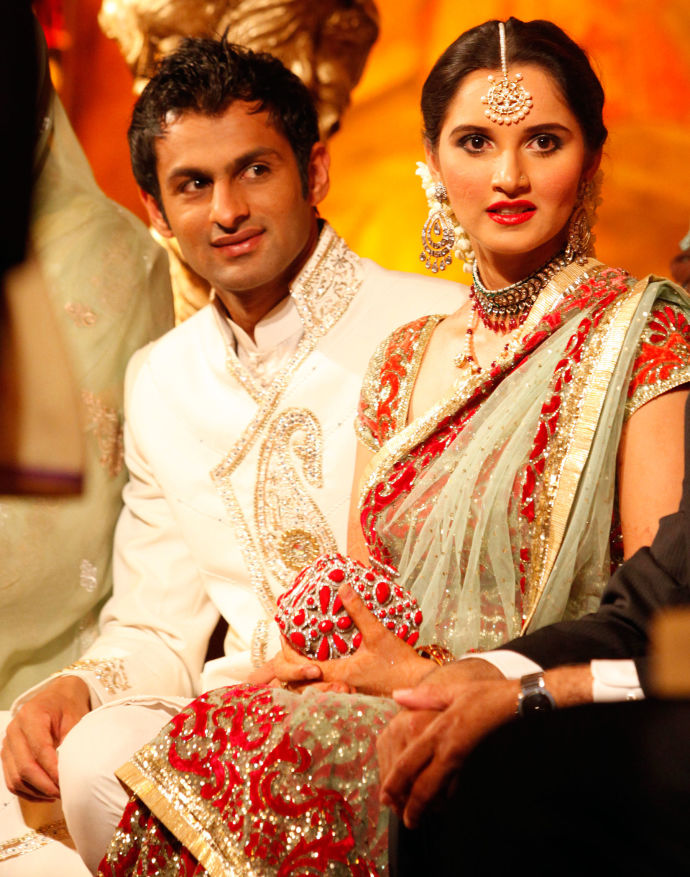 Mirza at her second wedding to the Pakistani cricket star Shoaib Malik, in his home country. His nationality drew criticisim of Mirza in India./ PHOTOGRAPH BY FAISAL MAHMOOD / REUTERS