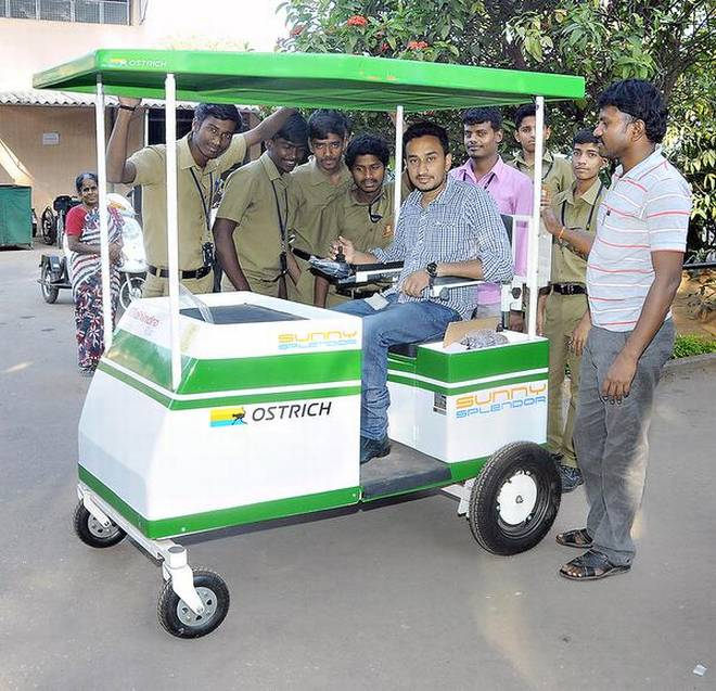 The battery-operated kiosk, Sunny Splendor, is a boon to persons with disabilities. —Photo: Sampath Kumar G.P. | Photo Credit: G_P_Sampath Kumar