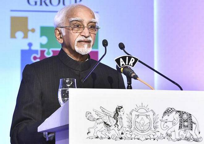 Vice-President Hamid Ansari at the inaugural session of The Huddle in Bengaluru on Friday.