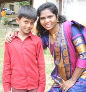 Akshay, the youngest jockey, with his aunt Manjula | Photo Credit: G.P. Sampath Kumar