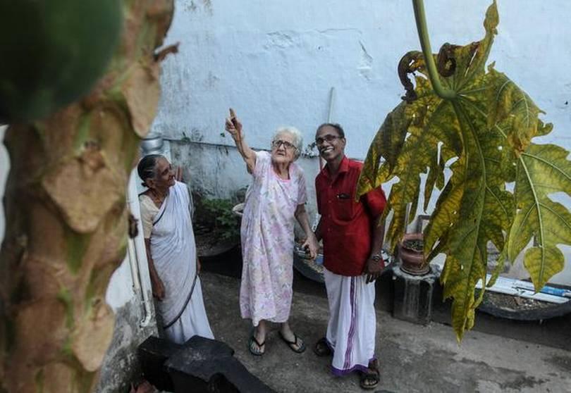 House of lore: Sara Cohen with Thaha Ibrahim in her backyard. PHOTO: THULASI KAKKAT
