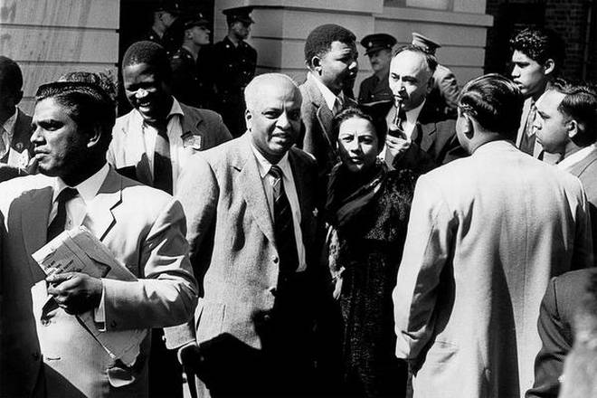 Monty Naicker, Nelson Mandela, and Yusuf Dadoo at the Treason Trial, Pretoria, 1958.