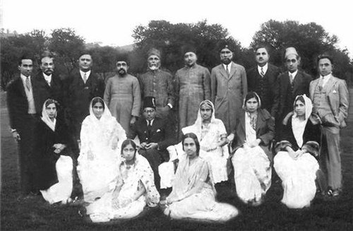 Saadulla, 6th from left (standing) and his daughter Betty (extreme left, sitting) attending a wedding at Shillong in the 1930s.[Photo courtesy: www.motijan-hazarika-rahman.com]