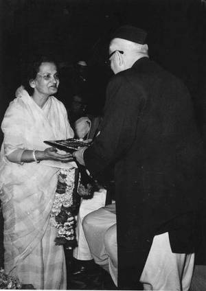 Tribute to the voice: Vice-President G.S. Pathak presenting the Sangeet Natak Akademi Award for Hindustani vocal music to Begum Akhtar
