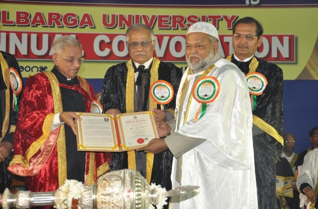 Gulbarga University has conferred Honorary Doctorate to Dr. Abdul Qadeer during the 33rd Annual Convocation.