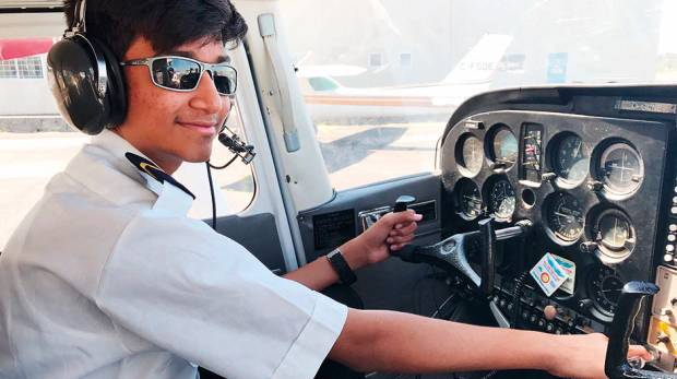 Mansoor Anis took off and landed from Langley Regional Airport in Canada to accomplish his first solo flight./ Image Credit: supplied
