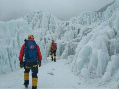 Kuntal and Sahabuddin during the Everest expedition