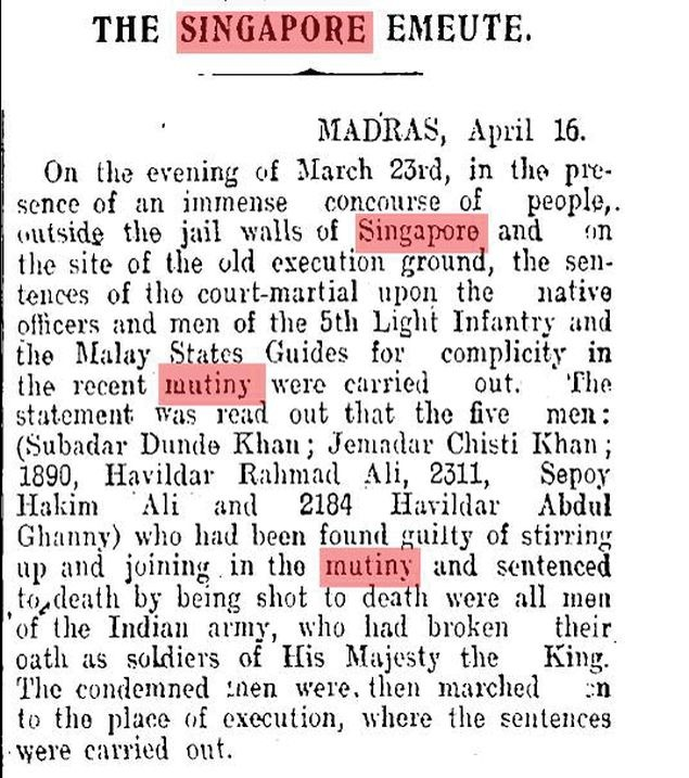 Snapshot of a TOI article from 1915 on the Singapore Mutiny.