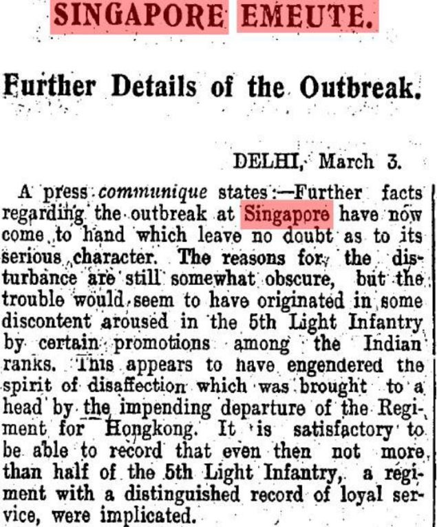Snapshot of a TOI article from 1915 on the Singapore Mutiny