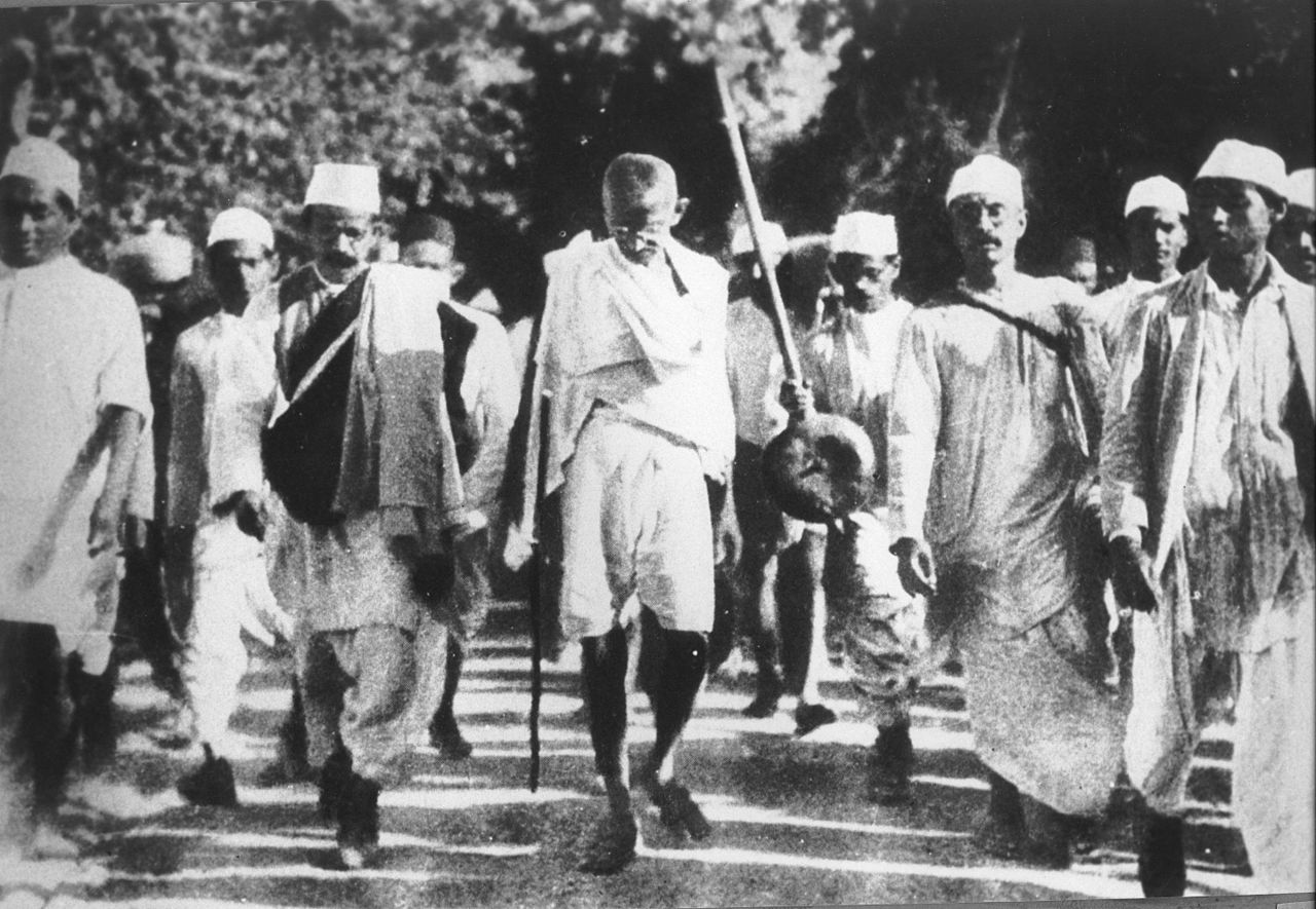Gandhi during the Salt March, March 1930