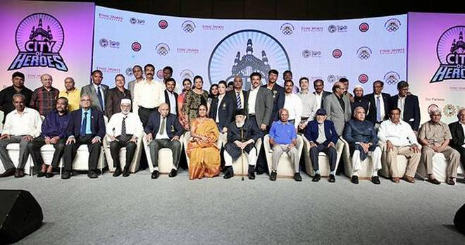 Sportspersons from the city being honoured at an event on Saturday.